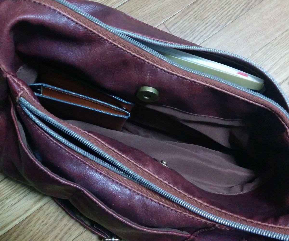 旅行財布を入れた時の鞄の様子