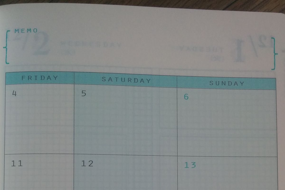 週末野心手帳のマンスリーページ右側