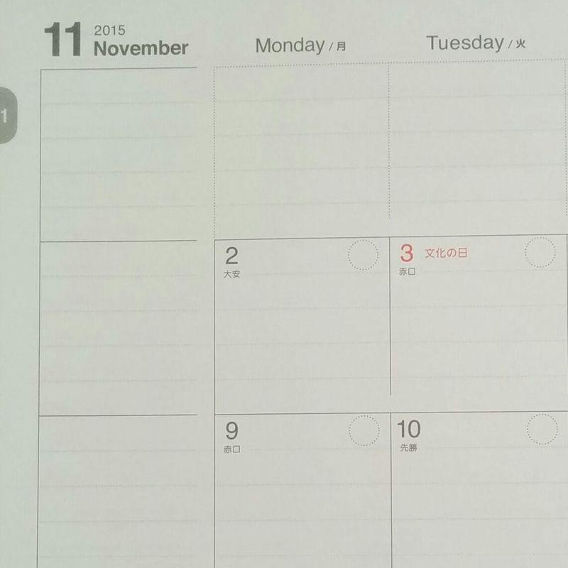 マンスリーカレンダーの左端