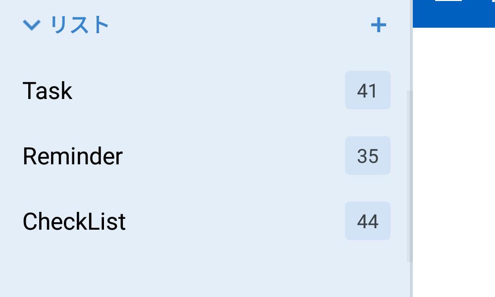 リストとタスク数