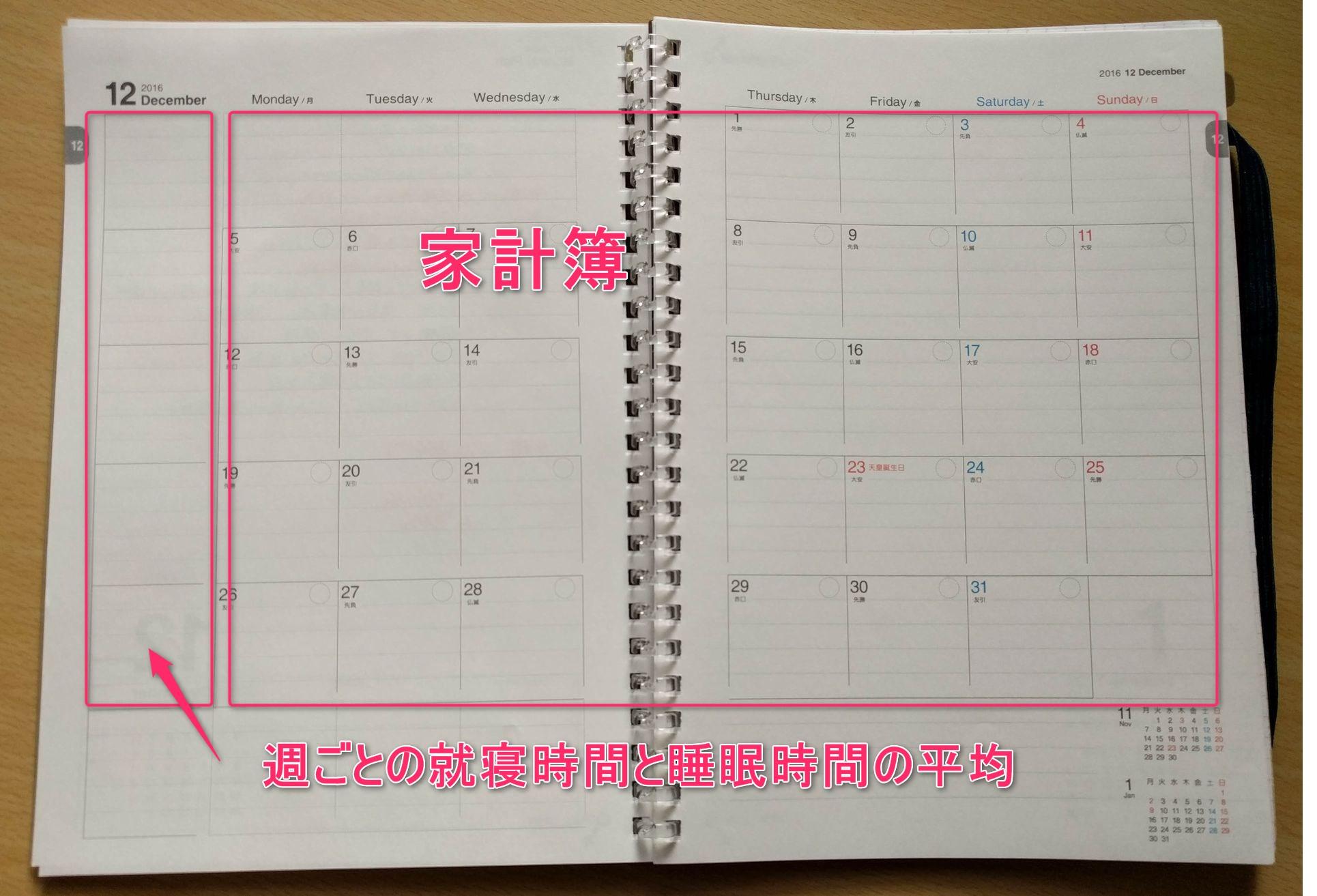 コロモガエダイアリーの月間カレンダー