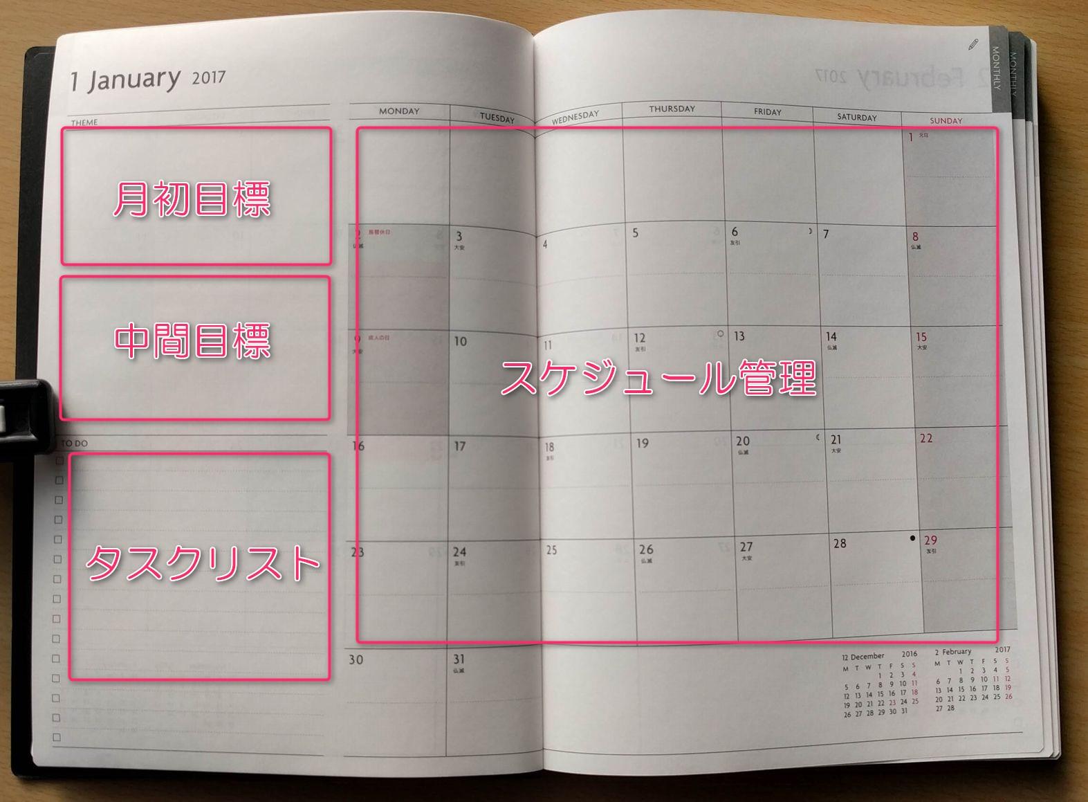 EDiT 週間ノート 月間カレンダー