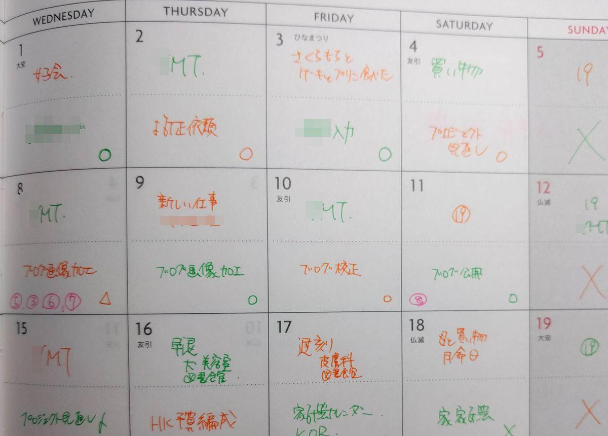 週間ノートの月間カレンダー