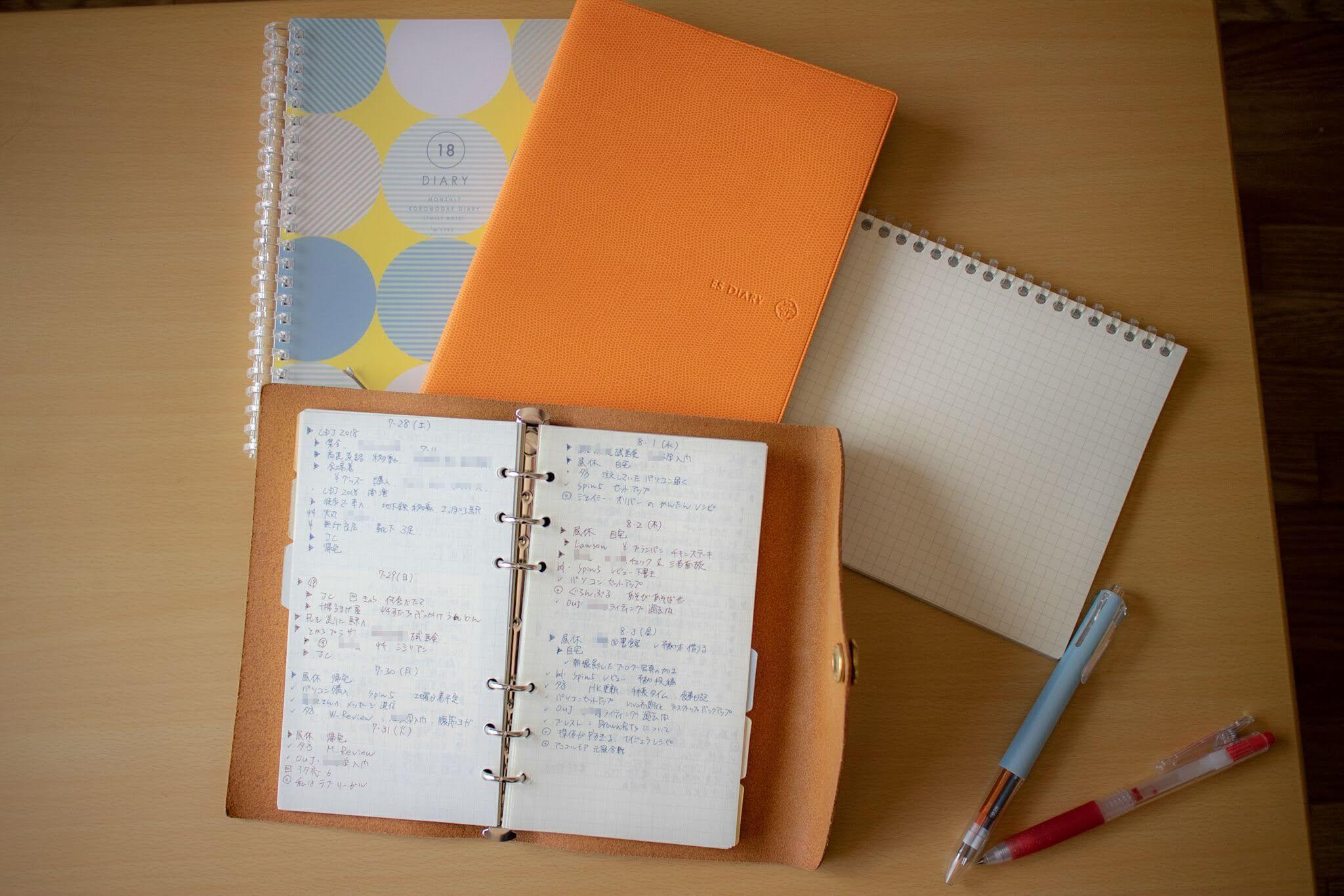 2018年8月現在の手帳の使い方